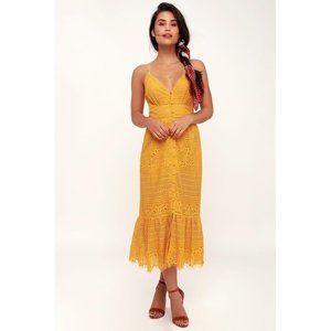 Lulu's Robyn Mustard Lace Button Down Midi Dress L